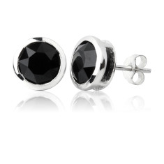 Jet round stud earrings