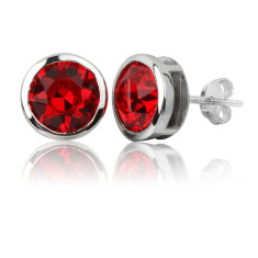 Light siam round stud earrings