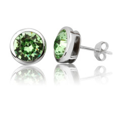 Peridot round 8mm stud earrings