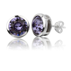 Tanzanite round 8mm stud earrings