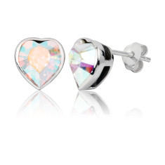 Aurora borealis heart stud earrings