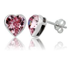 Light rose heart stud earrings