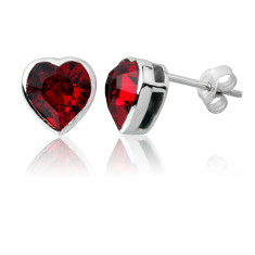 Light siam heart stud earrings