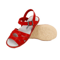 Kids' coast leather sandals in red