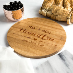Personalised Wedding Bamboo Serving Board