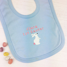 Personalised First Easter Embroidered Bib