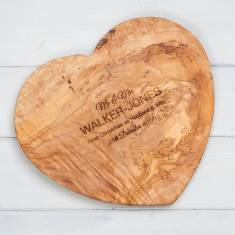 Personalised Olivewood Heart Chopping Board