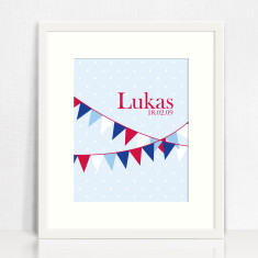 Personalised bunting print for boys