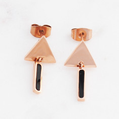 Triangle drop earrings in rose gold