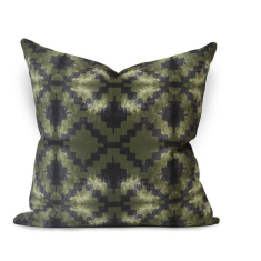 Glyph Urban Aztec Cushion Cover in Olive Green / Black