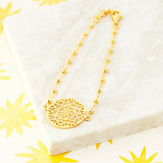 Mandala Bracelet In Gold Plate