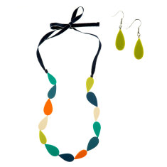 Cascade long droplet necklace + earrings matching set