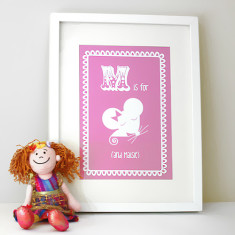 Personalised M is for mouse child's letter print