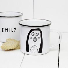 Personalised Penguin Enamel Mug