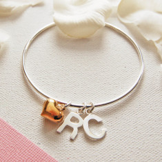 Personalised Silver Bangle with Gold Heart Charm