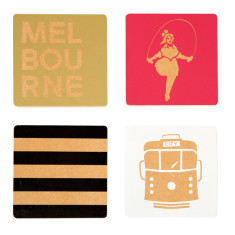 Iconic Melbourne wood coasters (set of 4)
