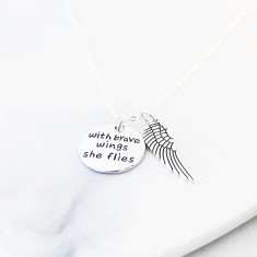 With brave wings she flies silver necklace