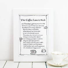 Coffee lover's week personalised poem print