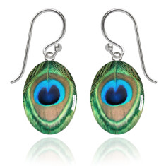 Peacock feather meniscus earrings
