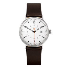 Silver 39mm watch with ebony brown leather band