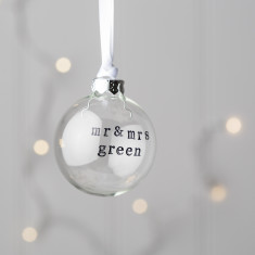 Personalised Mr And Mrs Glass Christmas Bauble