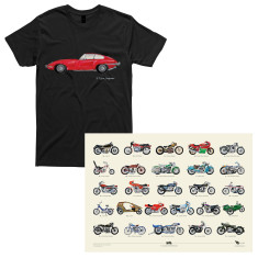 E-type Jaguar Men's T-shirt + A to Z of Classic Motorcycles A2 Poster