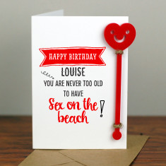 Sex on the Beach Cocktail Birthday Card with Cocktail Stirrer