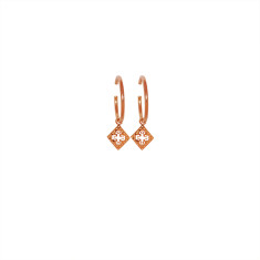 Medium Hoop Earrings with Pendants in Rose Gold Plate
