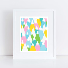 Snowy mountains art print