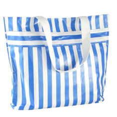 BenElke oilcloth beach bag in blue stripes