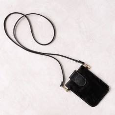Mobile phone pouch in black calfhair