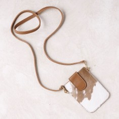 Mobile phone pouch in natural tan cowhide