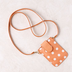 Mobile phone pouch in coral polka dots