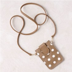 Mobile phone pouch in tan polka dots