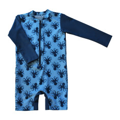 Baby sunsuit for boys in Octopus Ocean