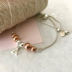 Personalised sterling silver and rose gold initial bracelet