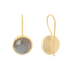 Cupcake Larger Drop Earrings In Gold Plate With Labradorite
