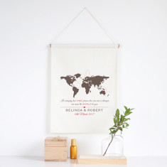 The World personalised wedding wall banner