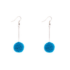 Drop earrings turquoise cotton crochet beads by Mon Bijou