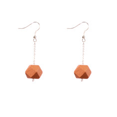 Drop earrings with copper faceted wooden beads by Mon Bijou