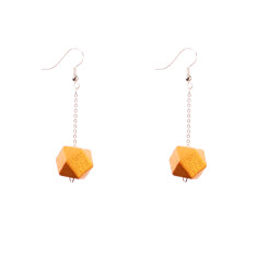 Drop earrings with gold faceted wooden beads by Mon Bijou