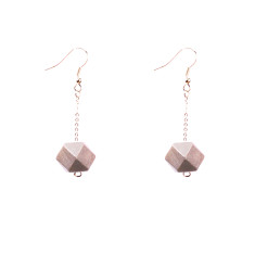 Drop earrings with silver faceted wooden beads by Mon Bijou