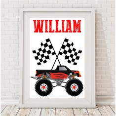 Monster truck personalised name print