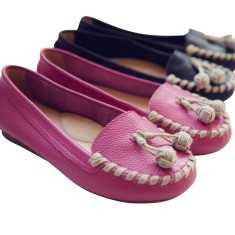 Woven ball moccasin in pink