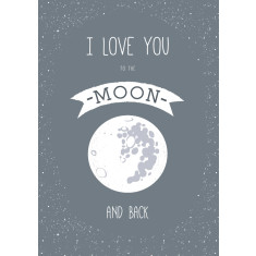 Moon & back quote print