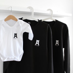 Bear Family set, Personalised Long sleeve Onesie and Parent Jumpers