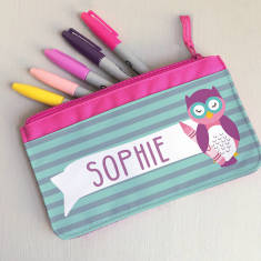 Children's Personalised 'Wise Owlet' Fabric Pencil Case