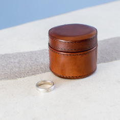 Personalised Leather Ring Box Round
