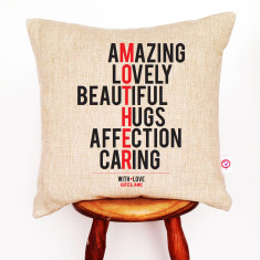 Mother personalised linen cushion cover