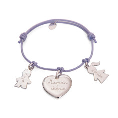 Women's personalised sterling silver family bracelet